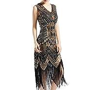 KNIGHTLY LESS Women's Flapper Dresses 1920s Sequin Evening Dress