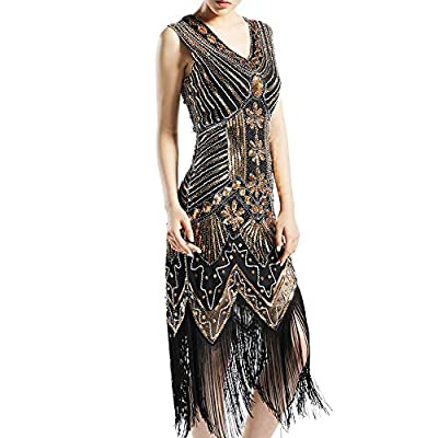 KNIGHTLY LESS Women's Flapper Dresses 1920s Sequin Evening Dress