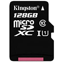 Kingston Technology Class 10 128GB Micro SDXC Memory Card with Adapter