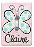 Butterfly Light Switch Decoration, Personalized Hand Painted Ceramic, Little Worm and Company