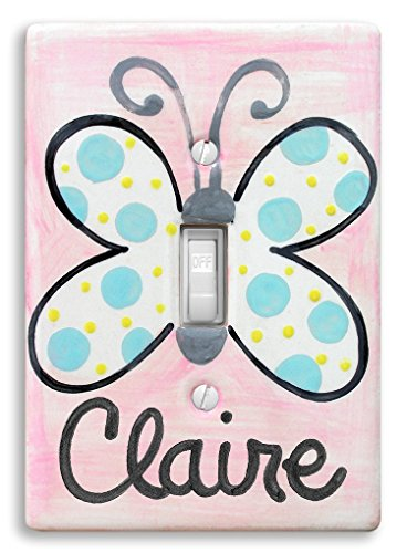 Butterfly Light Switch Decoration, Personalized Hand Painted Ceramic, Little Worm and Company by Little Worm And Company