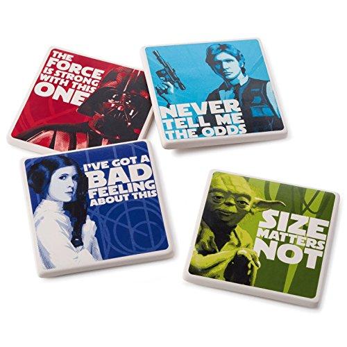 Hallmark Star Wars Characters Coaster Set of 4 Kitchen Accessories Birthday (Princess Leia Quotes)
