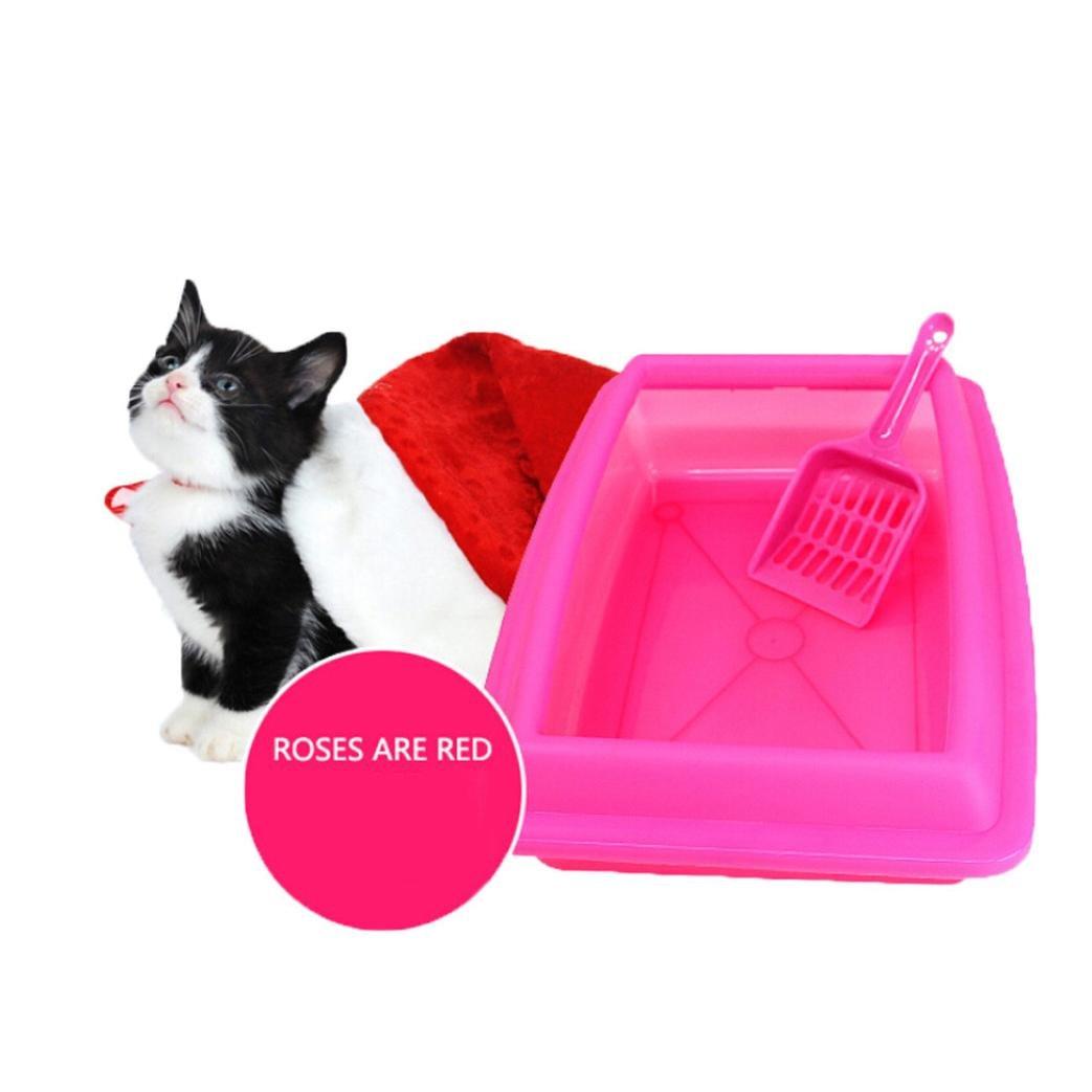 Celendi Baby Cat Bedpans Semi Closed Anti-Splash Kitten Toilet Litter Pet Plastic Box Shovel (Hot Pink)