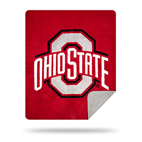 Officially Licensed NCAA Ohio State Buckeyes Denali Silver Knit Throw Blanket, Red, 60