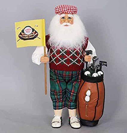 christmas decorations north pole classic santa with golf clubs holiday figurine - Christmas Pole Decorations