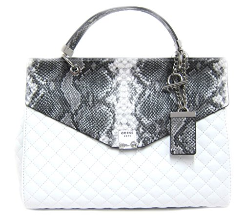 GUESS Rochelle Quilted Top Handle Flap, White/Multi