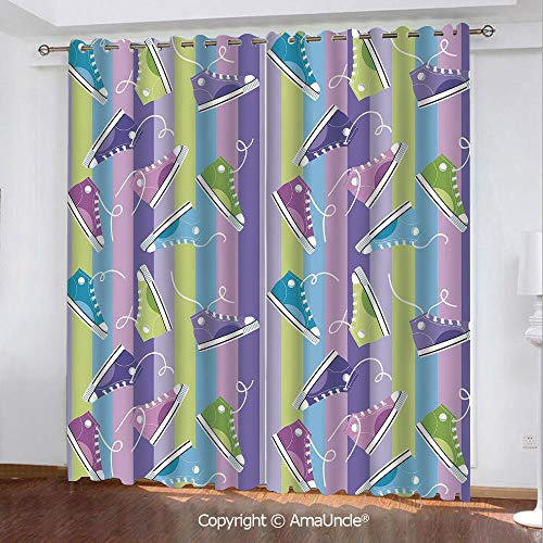 Home Fashion Blackout Curtain with Luxury Feeling,Retro,Different Colored Sneakers on Vertically Striped Backdrop Youth Footwear Fashion,Multicolor Pattern,W108.3xL95.3 Inches,Elegant Window Printing