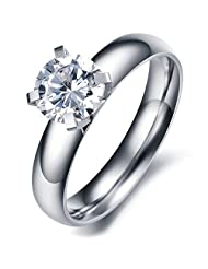 Titanium Stainless Allergy Free Big Drill Inlayed Classic 4 Claw Diamond Ring Fashion Wedding Band