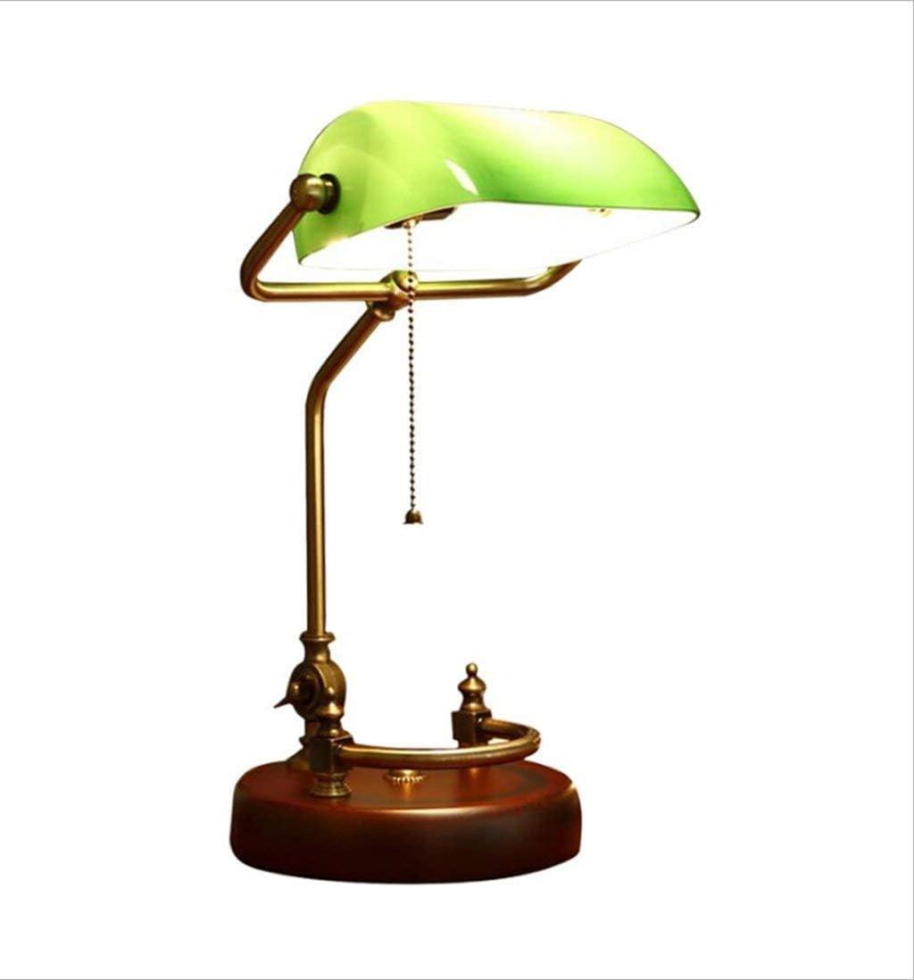Hanamaki Estilo Americano Diseño Simple del Estilo, Lámpara del Banquero Administrativo, Latón Antiguo De Cristal De La Sombra LED (Color: Verde)