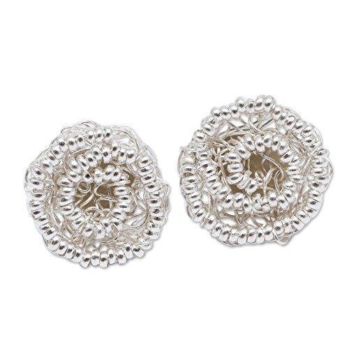 Sterling Swirling Flower Earrings - NOVICA .925 Sterling Silver Button Earrings 'Swirling Blooms'