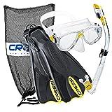 Cressi Palau Mask Fin Snorkel Set with Snorkeling Gear Bag, Yellow, L/XL | (Men's 10-13) (Women's 11-14)