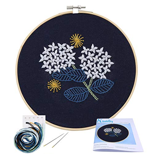 Hydrangea Blue Needlepoint - Full Range of Embroidery Starter Kit with Pattern, Kissbuty Cross Stitch Kit Including Embroidery Cloth with Floral Pattern, Bamboo Embroidery Hoop, Color Threads and Tools Kit (Hydrangea)