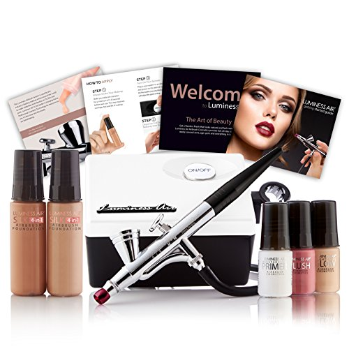 Luminess Air White & Black Legend Airbrush System with 5-Piece Silk 4-IN-1 Deluxe Airbrush Foundation & Cosmetic Starter Kit, Warm