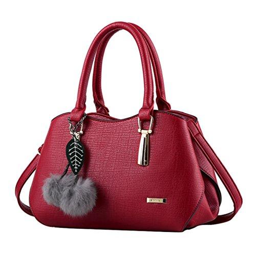 Yaancun Women Elegant Bag With Handles And Shoulder Bag Bag Multicolor Red Wine