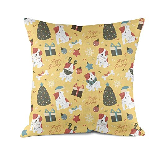 Tree Car Funny One (FDRTRTWD2 Pillow Cover Funny Dogs with Christmas Tree Simple Throw Pillows Covers Cotton 100% Indoor Sofa Cushion Pillowcases for Couch Sofa Bedroom Car 18 x18Inch 45x45 cm)
