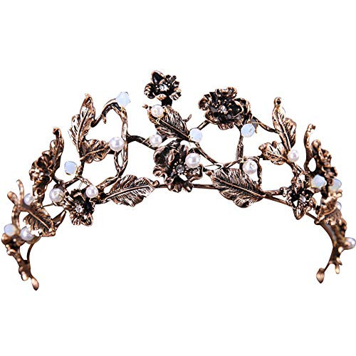 YuYe Vintage Flower Faux Pearl Inlaid Bride Tiara Headwear Crown Jewelry Photo Prop - Antique Bronze -