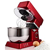 Rapesee 6 Speed 5L Multi-Functional Stand Mixer Kitchen Dough/Beater/Whisk 120V/650W Electric Mixer Machine with 5.3qt Bowl (red)