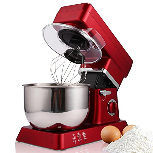 Rapesee 6 Speed 5L Multi-Functional Stand Mixer Kitchen Dough/Beater/Whisk 120V/650W Electric Mixer Machine with 5.3qt Bowl (red) by Rapesee