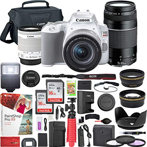 Canon EOS Rebel SL3 DSLR 4K Camera (White) with EF-S 18-55mm f/3.5-5.6 is II and EF 75-300mm f/4-5.6 III Double Zoom Lens Kit and SanDisk Memory Cards 16GB 2 Pack Plus Triple Battery Accessory Bundle