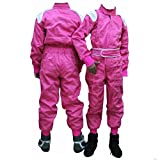 PM Sports Kids Juniors Karting Race Rally Go Kart Suits Overall One Piece Suit Indoor/Outdoor (Pink, 122-128)
