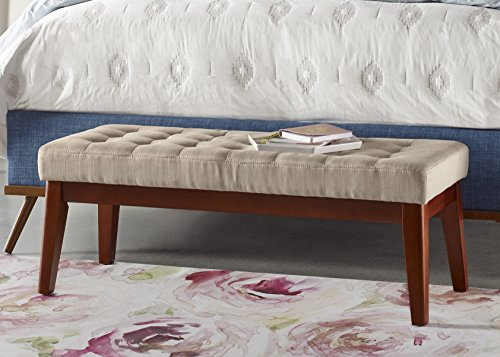 Elle Decor Claire Tufted Bench – Vanilla