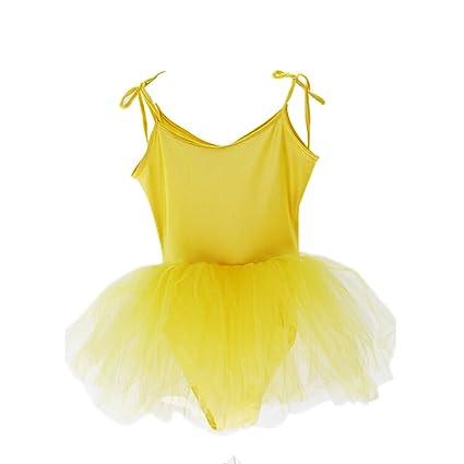 900ebae1e Amazon.com   PANDA SUPERSTORE  YELLOW  Lace Up Plain Ballet Dress ...