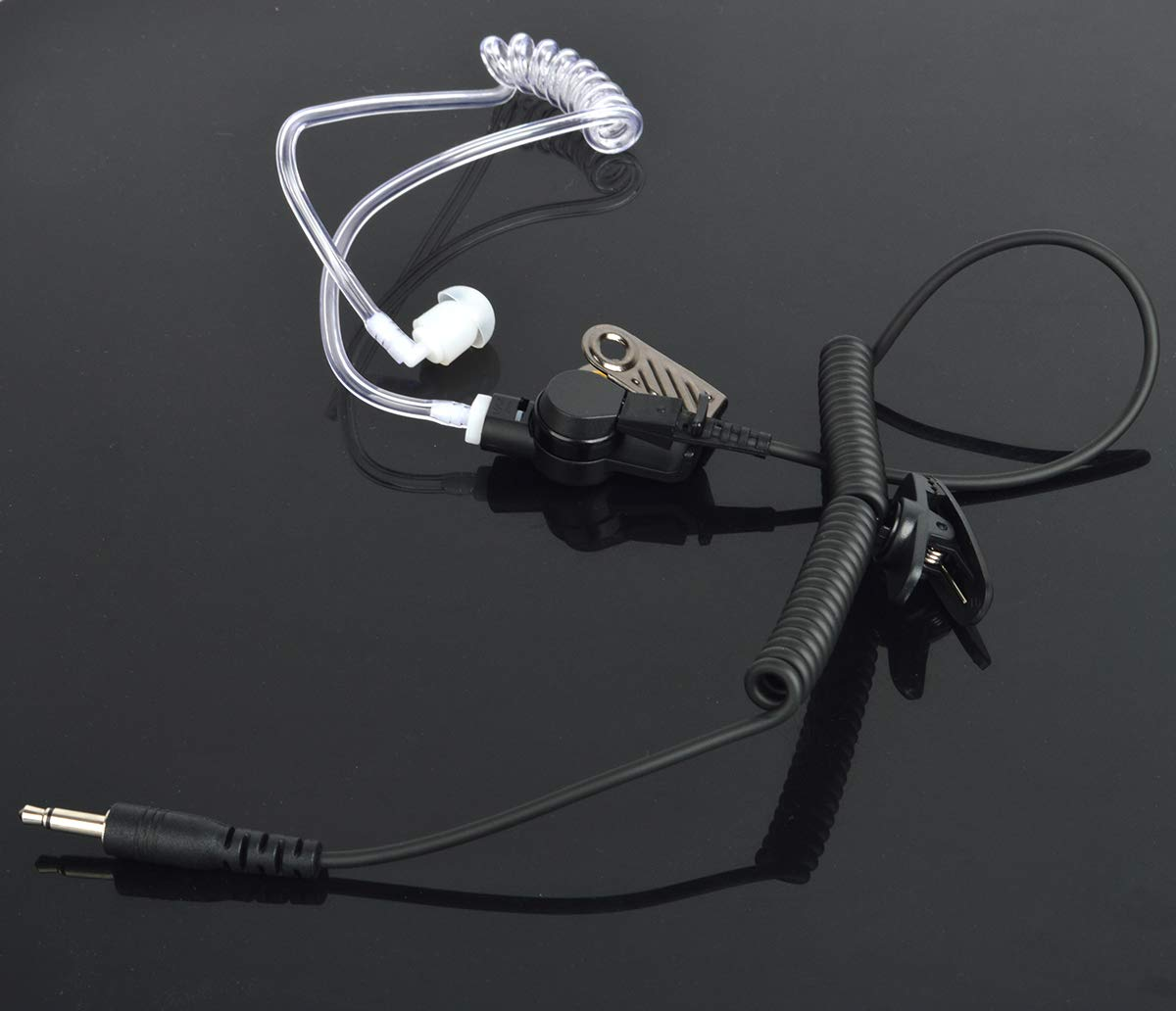 Receiver//Listen Only 2.5mm Surveillance Headset Earpiece with Clear Acoustic Coil Tube and One Pair Medium Earmolds One Mushroom Earbud Ear Tip for Icom Yaesu Ham Radio