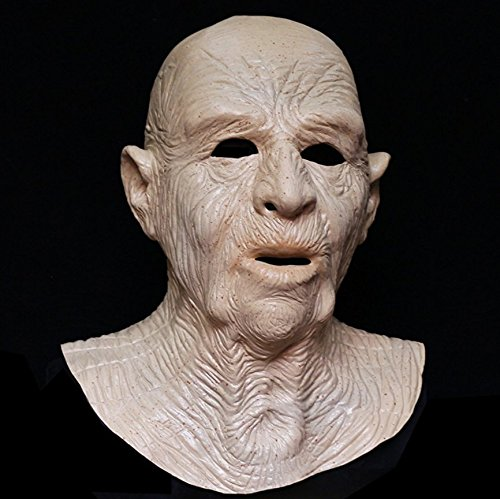 [LZD® Realistic Male Man Latex Mask Old Man Disguise Halloween Rubber Party Face Mask Costumes] (Latex Mask Old Man)