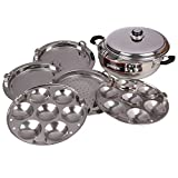 Pristine Induction Compatible Stainless Steel Sandwich Base Multi Purpose Kadai with Stainless Steel Lid & 5 Plates, 27 cm / 4.750Ltrs, 1PC (2 Idli Plates, 2 Dhokla, Patra Plates), Silver
