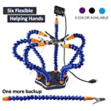 Crazepony Soldering Station Tool with 7pcs Helping Hands ,Third Pana Hand(7 Arms,Non-slip Aluminum Base,Built in Trays,Heat Resistant covers,360 Degree Swiveling Clips,Brushless DC Fan) --- Black