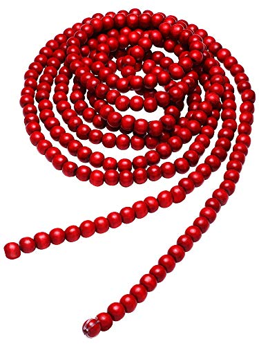 Hicarer Christmas Wooden Bead Garland Red Wood Bead Garland Christmas Tree Decorations for Christmas Holiday Favors, 12 Feet (Red) (Wooden Tree Christmas Large)