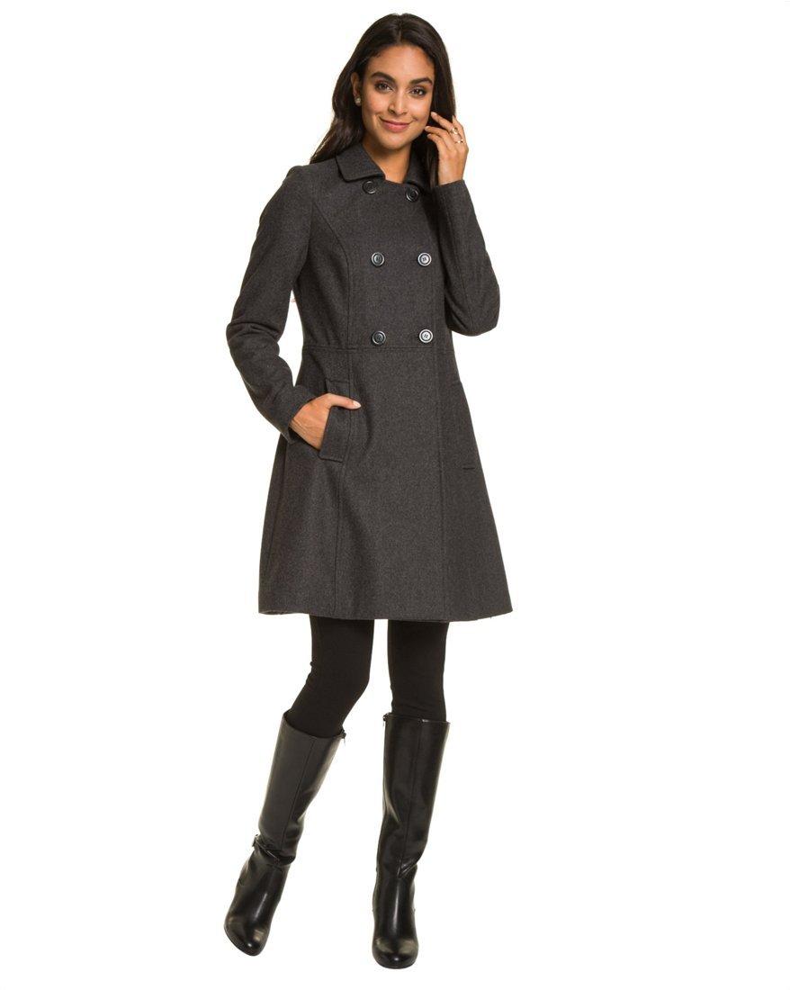 LE CHÂTEAU Women's Wool Blend A-Line Coat,S,Grey