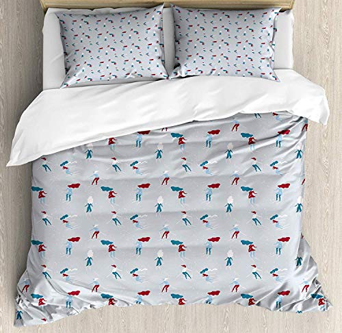 LanimioLOX Skii Duvet Cover Set, Retro Design Cartoon Girls Skiing During Snowfall Winter Season Outdoor Sports Theme, Decorative 3 Piece Bedding Set with 2 Pillow Shams, Multicolor Full
