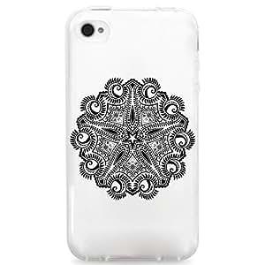 TPU Case for iPhone 4/4s - Star Tribal Mandala (White)