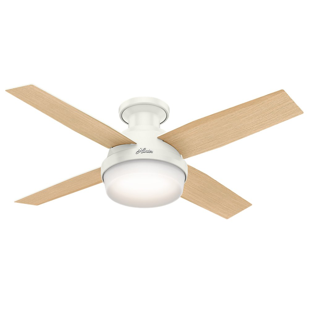 Hunter 59244 Dempsey Low Profile Fresh White Ceiling Fan With Light Remote 44 Inch Com