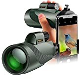 12x50 High Power Monocular and Quick Phone Holder - Bright and Clear Single Hand Focus Waterproof Fog Proof - for Bird Watching Camping Travelling or Watching Wildlife