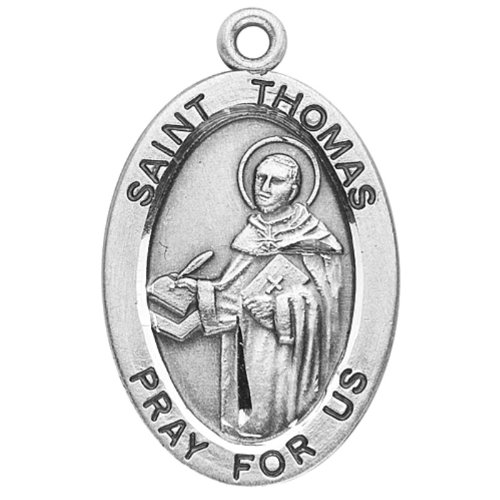 St. Thomas Aquinas Sterling Silver Oval Medal on 20