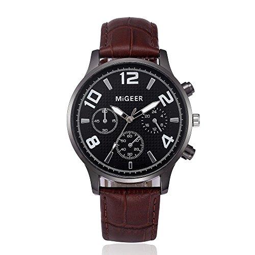 Linmkey Analog Alloy Quartz Wrist Watch Retro Design Leather Band Gift Key Ring Watch Fathers Day Watches