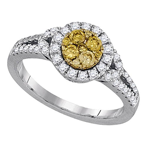 14kt White Gold Womens Round Natural Canary Yellow Diamond Cluster Ring 5/8 Cttw Canary Diamond Wedding Rings