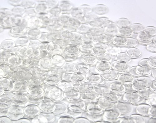 Round Plastic Buttons (One Pack of 400 Clear Delicate Plastic Round Buttons 2 Holes,Approx:12mm,Hole size:1mm Thickness:2mm)