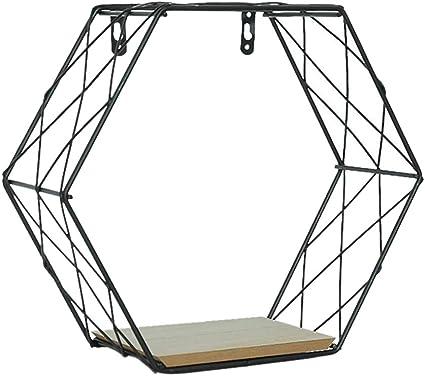 Cicony Estantería flotante hexagonal de hierro geométrico ...