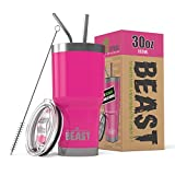 BEAST 30 oz Tumbler Stainless Steel Insulated Coffee Cup with Lid, 2 Straws, Brush & Gift Box by Greens Steel (30oz, Cup Cake Pink)
