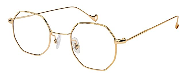 1940s Sunglasses, Glasses & Eyeglasses History Edge I-Wear Retro Chic Octagon Shaped Metal Sunglasses w/Flat Lens M5112-FL $12.48 AT vintagedancer.com