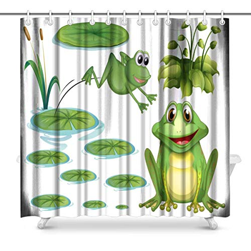 Big buy store Shower Curtain Green Frog and Water Lily Decor ,Waterproof Fabric Bathroom Decor Set with Hooks(Stall Long Size ()