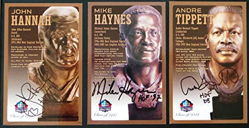 (PRO FOOTBALL HALL OF FAME New England Patriots Set of 3 Signed Bronze Bust Set Autographed Cards (Limited Edition 1 of 150) Andre Tippett, Mike Haynes, John Hannah)