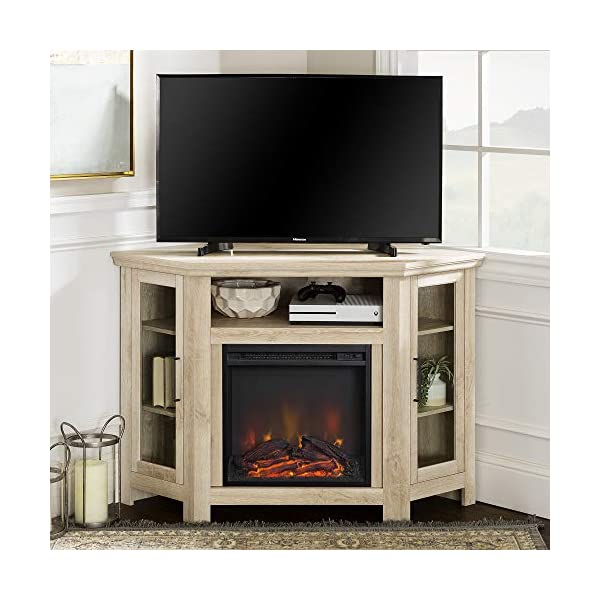 Walker Edison Alcott Classic Glass Door Fireplace Corner TV Stand for TVs up to 55 Inches, 48 Inch, White Oak