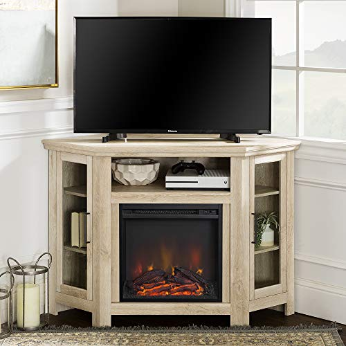 WE Furniture Tall Wood Corner Fireplace Stand for TV's up to 55