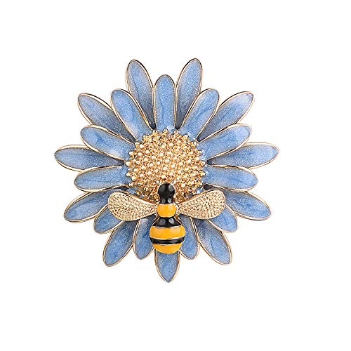 Yoursfs Vintage Sunflower Brooch Pin for Women Blue Enamel Floral Honey Brooch ()