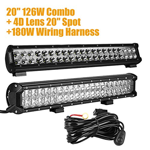 """Eyourlife 20"""" 126W Light Bar With Amber Protective Cover Wit"""