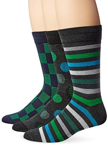Hanes Men's 3-Pack Dress Casual Crew Flat Knit Socks, Charcoal/Black Sock Size:10-13/Shoe Size: 6-12 Rainforest Dots, Sock Size: 10-13 (Shoe Size: 6-12) ()